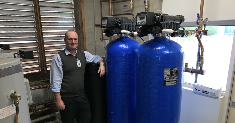 TDHS Support Services Manager Graeme McDonald with the new Water Softening System Web