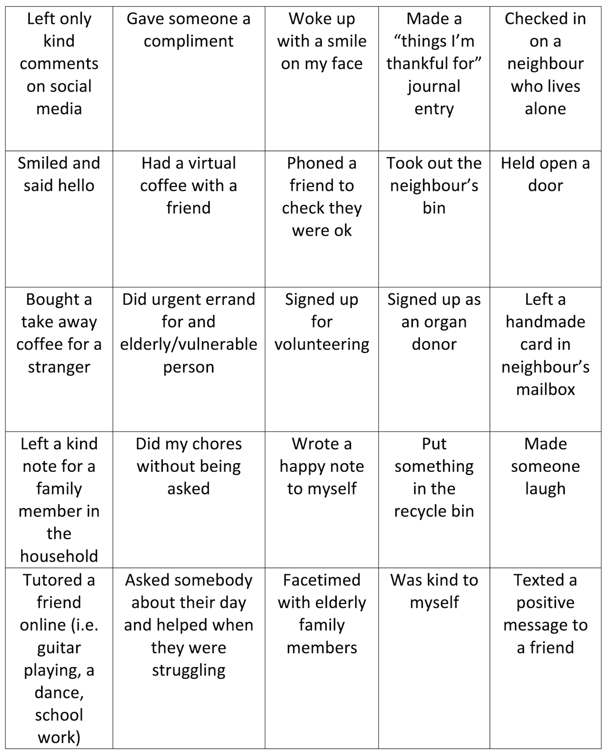 TDHS Random Acts of Kindness Bingo