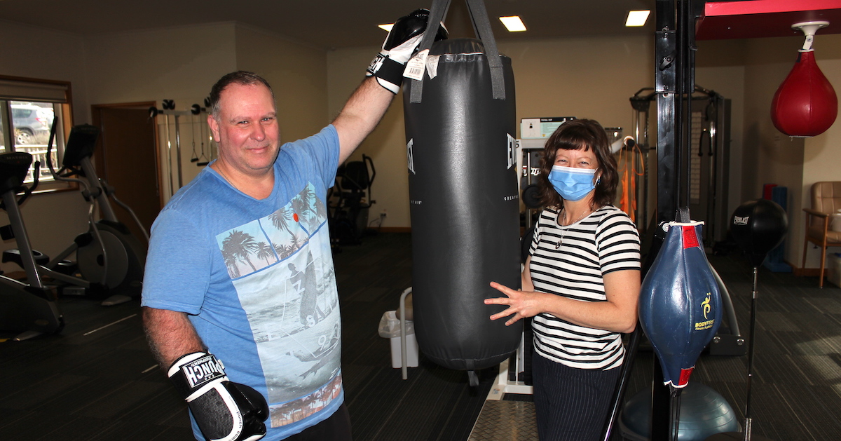 Peterborough's Matthew Jones at a fitness session with TDHS Allied Health Assistant Tracey Heeps